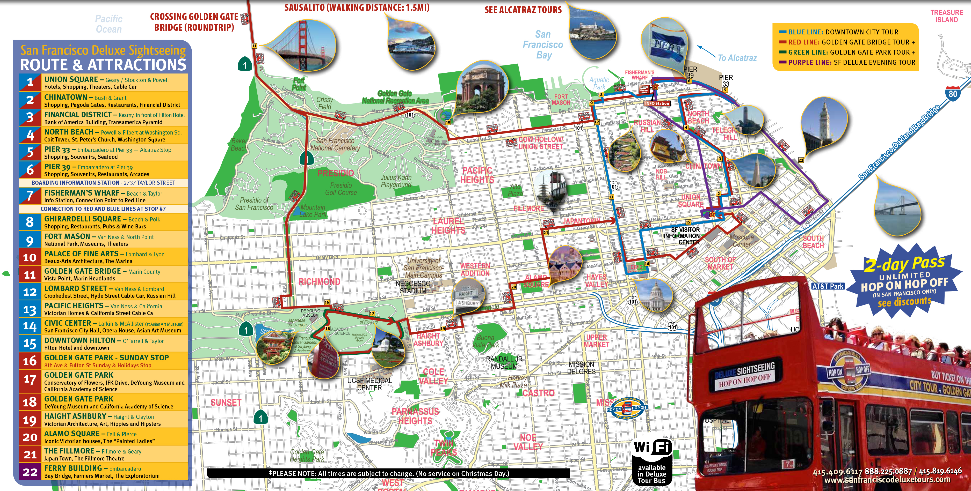San Francisco Deluxe Sightseeing Tour Routes – San Francisco Tourist Attractions Map
